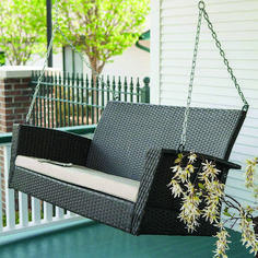Shop a great selection of Coral Coast Soho Wicker Porch Swing Free. Find new offer and Similar products for Coral Coast Soho Wicker Porch Swing Free. Modern Porch Swings, Wicker Porch Swing, Outdoor Patio Swing, Outdoor Wicker Furniture, Garden Furniture, Swing Chairs, Porch Furniture, Furniture Ideas, Cozy Patio