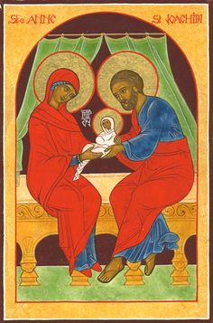 Saint Anne and Saint Joachim with their baby the Virgin Mary 1 St Anne, Saint Joachim, Mary 1, Religion, Santa Ana, Expositions, Catholic Art, Holy Family, Orthodox Icons