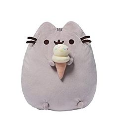 Upright Pusheen plush toy satisfies her sweet tooth with an ice-cream cone. Features unique animated hangtag with moving tail and whiskers.