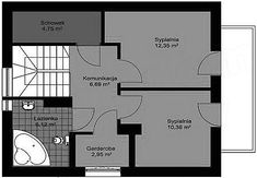 Rzut poddasza projektu Deko w2 Floor Plans, Deco, Projects