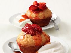 Strawberry Corn Cakes : Give store-bought corn muffin mix a major upgrade: Add lemon zest and vanilla to the batter, and stuff the muffins with strawberries for an easy-to-make breakfast, brunch or dessert treat.