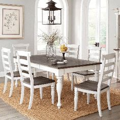 French Country 7 Piece Dining Room (Rectangular Table With 6 Side Chairs)    Bernie
