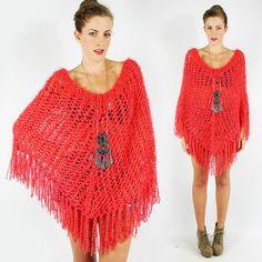 vtg 90s 70s boho hippie PINK CROCHET FRINGE PONCHO shawl cape sweater top S/M/L $28.00