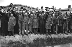 Prisoners of Dachau, at Liberation, Cheering the Liberating US Soldiers:   We Are Free ... Free ...