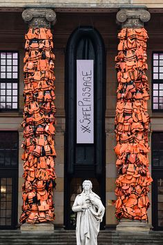 Ai Weiwei Konzerthaus Installation - refuge life jackets displayed prominently