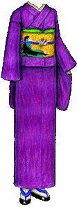 Iris-Colored (ayame-iro) Iromuji Kimono with Gold Obi