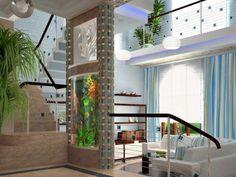 Resultado de imagen para wall aquarium end of hallway Room Partition Wall, Room Partition Designs, Partition Ideas, Room Partitions, Sliding Room Dividers, Diy Room Divider, Divider Ideas, Divider Design, Modern Bedroom Design