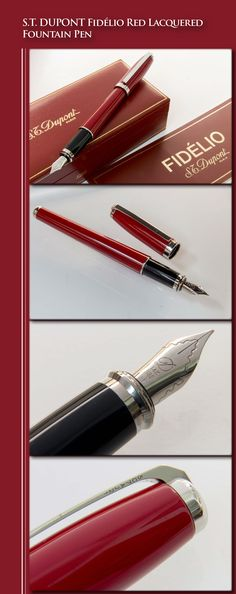 DUPONT - Fidélio Red Lacquered Fountain Pen (metal composite body with Chinese lacquer coat, palladium plated trim, white gold nib) - 2003 / France Hand Writing, Best Pens, Pen And Paper, Writing Instruments, Fountain Pens, Losing Weight, Gadgets, Pencil, White Gold