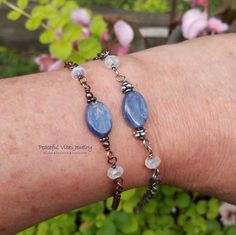Rainbow Moonstone Blue Kyanite Anklet Wire Wrapped Oxidized Sterling SIlver Or Copper Boho Hippie One Of A Kind Artisan Jewelry by PeacefulVibesJewelry on Etsy