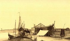 "Taras Shevchenko. ""Dock on the Syr Darya River in 1848"". Watercolour (13 × 22,8 cm). [20.VI – 25.VII 1848]. Taras Shevchenko National Museum,…..."