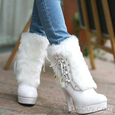 High Quality White Stiletto Heels Boots is part of Shoes - Buy High Quality White Stiletto Heels Boots From Shoespie com You will find many fashionable products from Thigh High Boots collections White Boots, Sexy Boots, White Fur, Mode Shoes, Shoes Heels, Stiletto Heels, Prom Shoes, Buy Shoes, Fur Boots