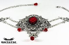 Silver Gothic Choker Necklace  Black and Red by NocturneHandcrafts