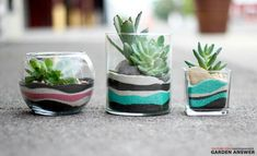 Sand art flower pots