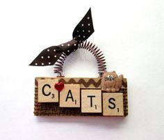 Love Cats Scrabble Tile Ornament by ScrabbleTileOrnament on Etsy