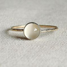 - Moon on a Golden Thread -  Hammered Stacking Ring -   via Etsy.