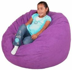 """3-feet Purple Cozy Sac Bean Bag Chair Love Seat by The Cozy Sac. $99.00. Diameter 44"""" - sac contains 23 cubic feet of foam. The entire sac is made in USA. Filled with hand pick Virgin polyurethane foam. Includes Inner liner that contains the foam fill. Outer cover is removable and machine washable. polyester. The Cozy Sac foam chair is the most comfortable place to sit anywhere. They are filled with the softest virgin urethane foam available. The urethane foam will spring back t..."""