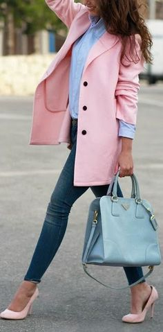 Pink blazer + heels.