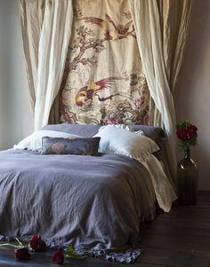 Bella Notte, bedroom decor. curtains as headboard