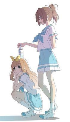 More anime and manga Manga Kawaii, Chica Anime Manga, Yuri Anime, Kawaii Anime Girl, Anime Art Girl, Manga Girl, Anime Girls, Anime Girlxgirl, Anime Girl Drawings