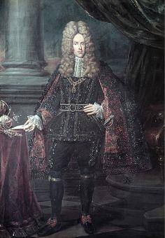 JOSEPH I d'Autriche (1678 - 1711), Empereur Romain Germanique de 1705 a 1711, Roi de Croatie, de Bohême et de Hongrie en 1687. Il succéda son père Léopold I et épousa la princesse Wilhelmine Amélie de Brünswick-Lunebourg, qui lui donna 3 enfants. Seules survécurent ses 2 filles mariées à l'électeur de Saxe et à l'électeur de Bavière.