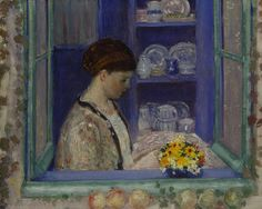 Mrs. Frieseke at the Kitchen Window Frederick Carl Frieseke (April 7, 1874 – August 24, 1939)  American Impressionist painter  who lived in Normandy France.