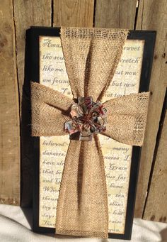 Amazing Grace 10x20 sign with Burlap Cross by bethborder on Etsy