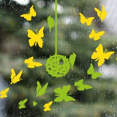 Green & yellow spring - wall and window decals design by lepeeto Yellow Springs, Spring Is Coming, Window Decals, Arches, Green, Plants, Teaching, Wall, Design