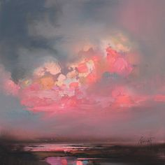 Cumulus Consonance Study 1 oil painting by Scottish landscape artist Scott Naismith ☁ Landscape Art, Landscape Paintings, Landscapes, Oil Paintings, Sunset Paintings, Contemporary Landscape, Art Amour, Art Et Illustration, Art Design