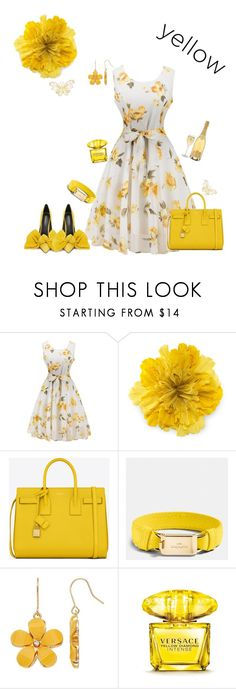 Beautiful floral yellow dress by Diva of Cake featuring mode, Yves Saint Laurent, Gucci, Coach and Versace
