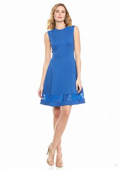 Anne Klein Fit-and-Flare Dress with Lace Insets