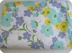 Vintage 60s MOD FLORAL Sheet Aqua Lilac And By SentimentallyMe