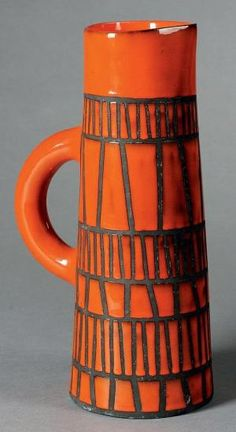 ¤ ROGER CAPRON Orange pitcher Enamelled earthenware orange and black Signed Between 1953 and 1965 cm Bibliography: Pierre Staudenmeyer, Roger Capron Ceramist, Norma editions, similar model reproduced Source by Angharade Ceramic Clay, Ceramic Pottery, Pottery Art, Earthenware, Stoneware, Roger Capron, Sculptures Céramiques, Keramik Vase, Pottery Designs