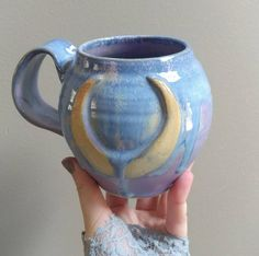 Wet Moon Cauldron Mug in Persephone- - Purple Lavender Blue Crystal Ceramic Mug Cup Light Blue Green, Lavender Blue, Moon Design, Persephone, Cauldron, Blue Crystals, Mug Cup, Sailor Moon, Coffee Cups
