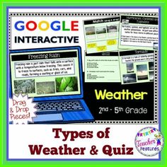 Google Classroom: Students in grades 2,3, & 4 will love exploring different types of weather with these interactive, no prep Google slides. This Google Drive activity consists of 19 different weather phenomena, a 12 question quiz with answer key and 2 slides with drag and drop movable pieces.