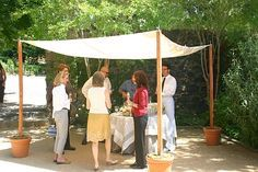 good idea using the potted plants for the base of a DIY awning - Gardening For Y. Backyard deck diy good idea using the potted plants for the base of a DIY awning – Gardening For Y…