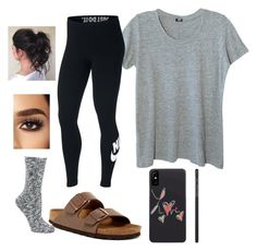 """""""Untitled #17"""" by corilmorrison on Polyvore featuring Monrow, NIKE and Birkenstock"""