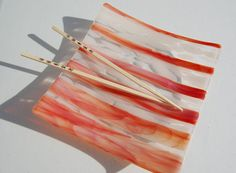 Peach and white fused glass sushi dish by jestersbaubles on Etsy