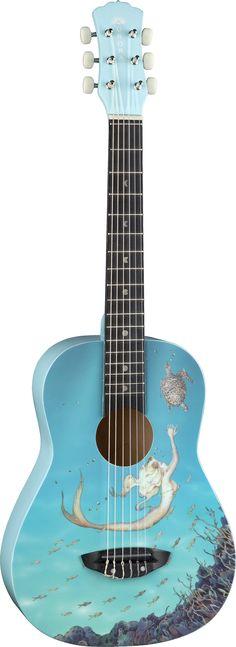 Luna Aurora Mermaid Mini 3/4 Nylon String Acoustic Guitar - AR NYL MERMAID