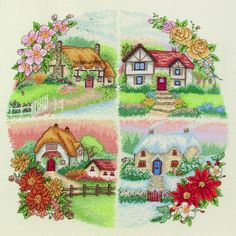 Four cottages, each one taken straight out of a fairy tale, peppered with some seasonal differences. This cross stitch arranges its cosy living spaces...