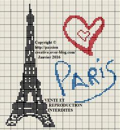 Grille gratuite point de croix : Paris Tour Eiffel Coeur rouge