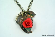 Cat Rose Necklace, Rose Necklace, Vintage Filigree Cat, Scaredy Cat, Vintage Dark Brass, 32 x 30mm.Howling Dog Jewelry by HowlingDogJewelry on Etsy