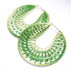 Crochet green hoop earrings Crochet Hoop Earrings by faustapink900, £9.79