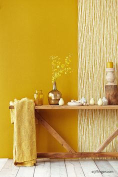 Weekend Inspiration: Golden Ocher, color of the year 2016 according to Color Futures - Home Design & Interior Ideas Yellow Home Decor, Yellow Interior, Interior And Exterior, Wall Decor, Room Decor, Wall Art, Yellow Houses, Yellow Walls, Yellow Art