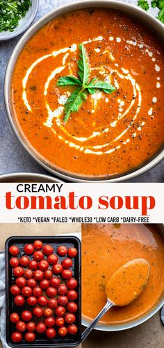 Dairy Free Tomato Soup, Fresh Tomato Soup, Creamy Tomato Basil Soup, Canned Tomato Soup, Tomato Soup Recipes, Whole 30 Tomato Soup, Paleo Soup, Low Calorie Vegan, Soups