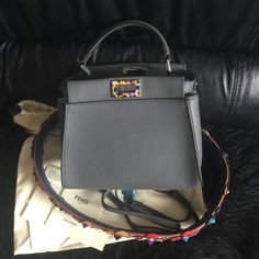 Fendi Mini Peekaboo Gray Bag Crossover Bags 3e0996d732b08