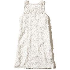 Hollister Lace Shift Dress ($22) ❤ liked on Polyvore featuring dresses, vestidos, white, white lace dress, white dress, lace dress, lacy white dress and white day dress