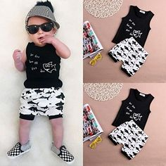 Dinlong 3Pcs Infant Baby Boys Girls Clothes Set Summer Outfits Sequins Letter Print Romper+Shorts