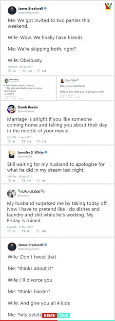 10+ Most Witty Marriage Tweets of all Times #funnytexts #meantweets #husbandvswife #funnytweets