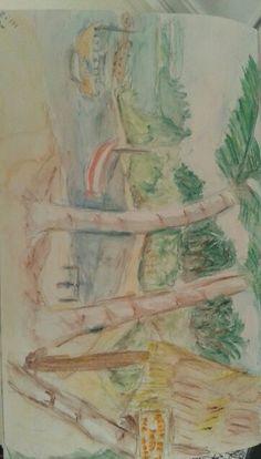 Praia de Moreré,  Boipeba - lápis aquarelado