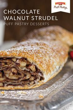 Chocolate Walnut Strudel – Puff Pastry Chocolate Walnut Strudel – Puff Pastry,Pie, Tart, and Pastry Recipes Christmas just wouldn't be complete without this Chocolate Walnut Strudel. This traditional European dessert recipe gets a modern. Philo Dough, Puff Pastry Desserts, Sweet Puff Pastry Recipes, Puff Pastries, Choux Pastry, Strudel Recipes, Pastries Recipes, Pepperidge Farm Puff Pastry, Breakfast Recipes